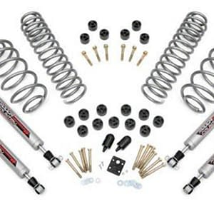 Lift Kit Rough Country 3.75 in. Lift Combo Kit w Shocks untuk Jeep Wrangler TJ